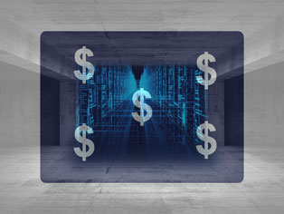 dollar signs over server background