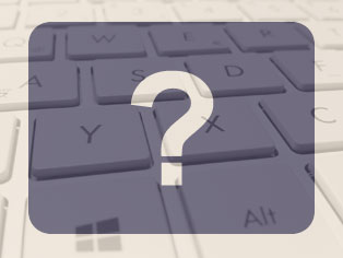 Question mark graphic over a keyboard